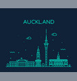 auckland city skyline new zealand linear vector image vector image