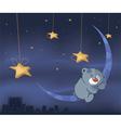 Bear cub and the moon cartoon vector image vector image