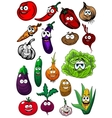 Cartoon organic farm vegetables characters vector image