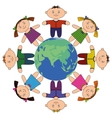 children standing around earth vector image vector image