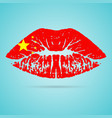 china flag lipstick on the lips isolated on a vector image