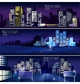 City Nightcape 3 Banners Set vector image