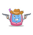 cowboy school bag character cartoon vector image