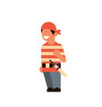 cute boy wear pirate scarecrow costume happy vector image
