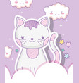 cute cat animal with kawaii clouds vector image vector image