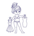 cute girl for coloring book girl chooses a dress vector image vector image