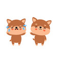 cute happy smiling dog and sad cry character vector image vector image
