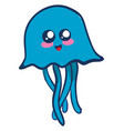 cute jellyfish on white background vector image vector image