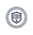 cyber security shield icon or logo binary digital vector image