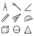 doodle geometry icons set vector image vector image
