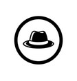 fedora hat symbol and circle outline vector image