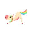 funny unicorn character with rainbow mane and tail vector image vector image