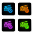 glowing neon radio with screwdriver and wrench vector image vector image