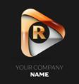 golden letter r logo in golden-silver triangle vector image vector image