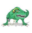 green dinosaur in headphones vector image vector image