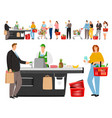 grocery shopping queue vector image vector image