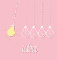 hanging yellow light bulb switch on off lamp vector image vector image