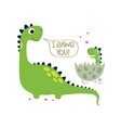 happy dinosaur with badino vector image vector image