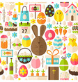 Happy Easter Holiday Flat White Seamless Pattern vector image vector image