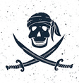 jolly roger hand drawn skull with swords vector image