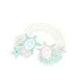 marine wreath seashell turtle gold line art vector image vector image