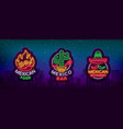 mexican food is a collection of neon signs bright vector image