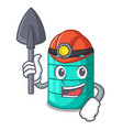 miner cartoon water tank on the tower vector image
