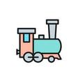 old locomotive train railroad flat color line vector image