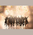 party crowd on confetti and streamers background vector image vector image