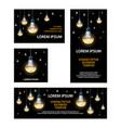 polygonal led light bulbs banners set vector image