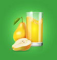 realistic glass of pear fruit juice vector image vector image