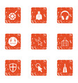rocket child icons set grunge style vector image