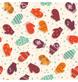 Seamless pattern with mittens and snow vector image vector image