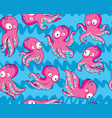 seamless pattern with pink cartoon octopuses on a vector image