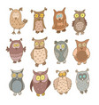 set of cute cartoon owls isolated on white vector image vector image
