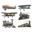 set of passenger train and airplanes corncob vector image vector image