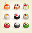 set various fresh and delicious sushi rolls vector image vector image