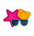 sunglasses with a sea star and a seashell vector image vector image