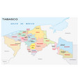 tabasco administrative map mexico vector image vector image