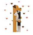 two cute dogs hugging vector image