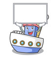 up board ship character cartoon style vector image vector image