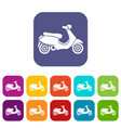 vespa scooter icons set vector image
