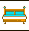 bed with blue pillows vector image