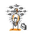business man shows his idea light bulb vector image