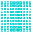 100 gadget icons set grunge blue vector image vector image