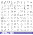 100 rural icons set outline style vector image