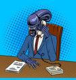 alien boss talking phone pop art vector image