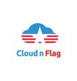 american flag star cloud logo design vector image