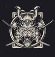 angry tiger head in samurai helmet vector image vector image