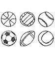 Ball sketch set simple outlined isolated on white vector image vector image